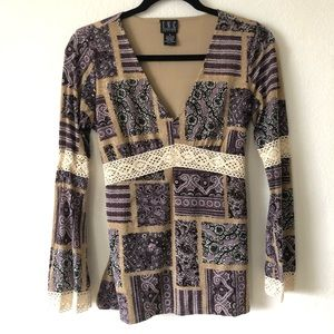 INC printed lace blouse